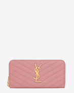 MONOGRAM SAINT LAURENT ZIP AROUND WALLET IN Old Rose GRAIN DE POUDRE TEXTURED MATELASSÉ LEATHER