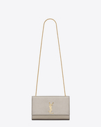 CLASSIC MEDIUM MONOGRAM SAINT LAURENT SATCHEL color oro pallido IN PELLE martellata metallizzata