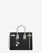 CLASSIC SMALL SAC DE JOUR BAG IN Black leather and Black and Ivory Snake Skin