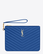 MONOGRAM SAINT LAURENT POUCH IN Royal Blue MATELASSÉ LEATHER