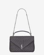 CLASSIC Large collège MONOGRAM SAINT LAURENT BAG IN Dark Anthracite MATELASSÉ LEATHER