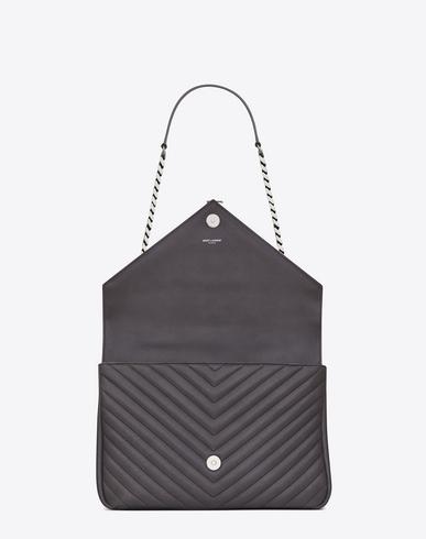 3eb215277 classic large monogram saint laurent college bag in navy blue matelasse  leather