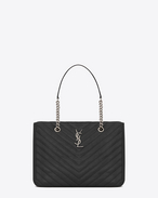 CLASSIC Large MONOGRAM SAINT LAURENT SHOPPING BAG IN Black MATELASSÉ LEATHER