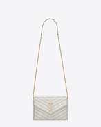 MONOGRAM SAINT LAURENT Envelope CHAIN WALLET IN Pale Gold Grained MATELASSÉ Metallic LEATHER