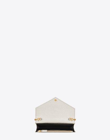 college purses - SAINT LAURENT Monogram Envelope Chain Wallet In Pale Gold Grained ...