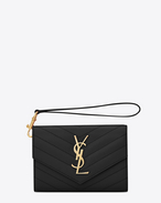 Small MONOGRAM SAINT LAURENT Flap Wallet IN Black Grain de Poudre Textured MATELASSÉ LEATHER