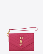 Small MONOGRAM SAINT LAURENT Flap Wallet IN Lipstick Fuchsia Grain de Poudre Textured MATELASSÉ LEATHER