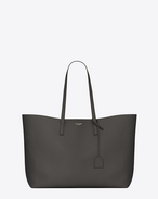 Large SHOPPING SAINT LAURENT Tote Bag in Dark Anthracite Leather