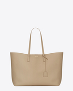 Large SHOPPING SAINT LAURENT Tote Bag in Dark Beige Leather