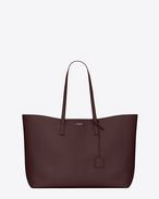 Große SAINT LAURENT Shopper-Totebag aus bordeauxrotem Leder
