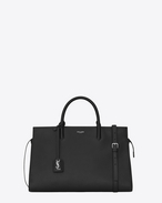 Medium Cabas RIVE GAUCHE bag in Black Grained Leather