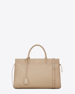 Medium MONOGRAM SAINT LAURENT RIVE GAUCHE Cabas in Dark Beige Grained Leather