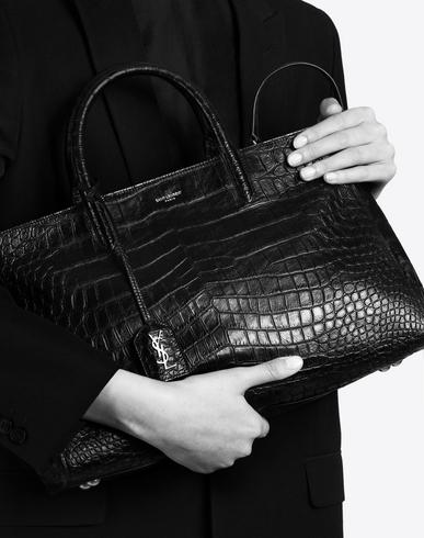 SAINT LAURENT Medium Cabas Rive Gauche Bag In Black Crocodile ...