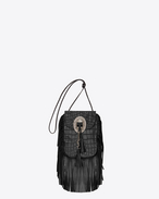 ANITA TASSELED FLAT BAG IN BLACK Crocodile Embossed LEATHER