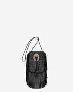 ANITA TASSELED FLAT BAG nera in coccodrillo stampato