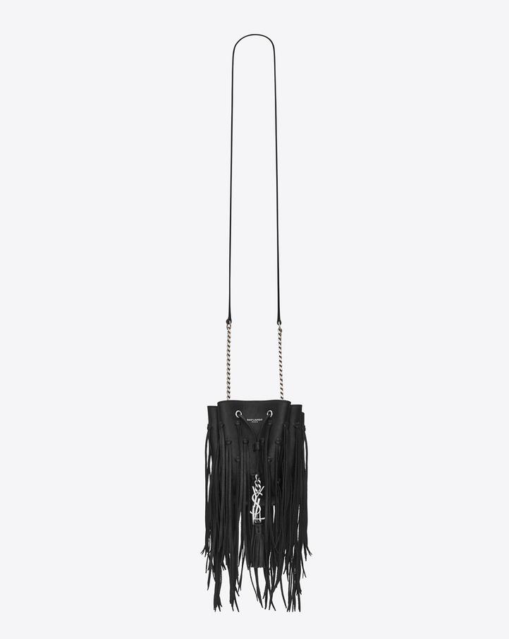 Saint Laurent MONOGRAM SAINT LAURENT Fringed Bucket Bag In Black ...