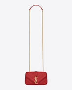 CLASSIC Baby MONOGRAM SAINT LAURENT CHAIN BAG IN Red MATELASSÉ LEATHER