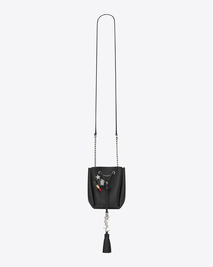 Saint Laurent MONOGRAM SAINT LAURENT Pin Bucket Bag In Black ...