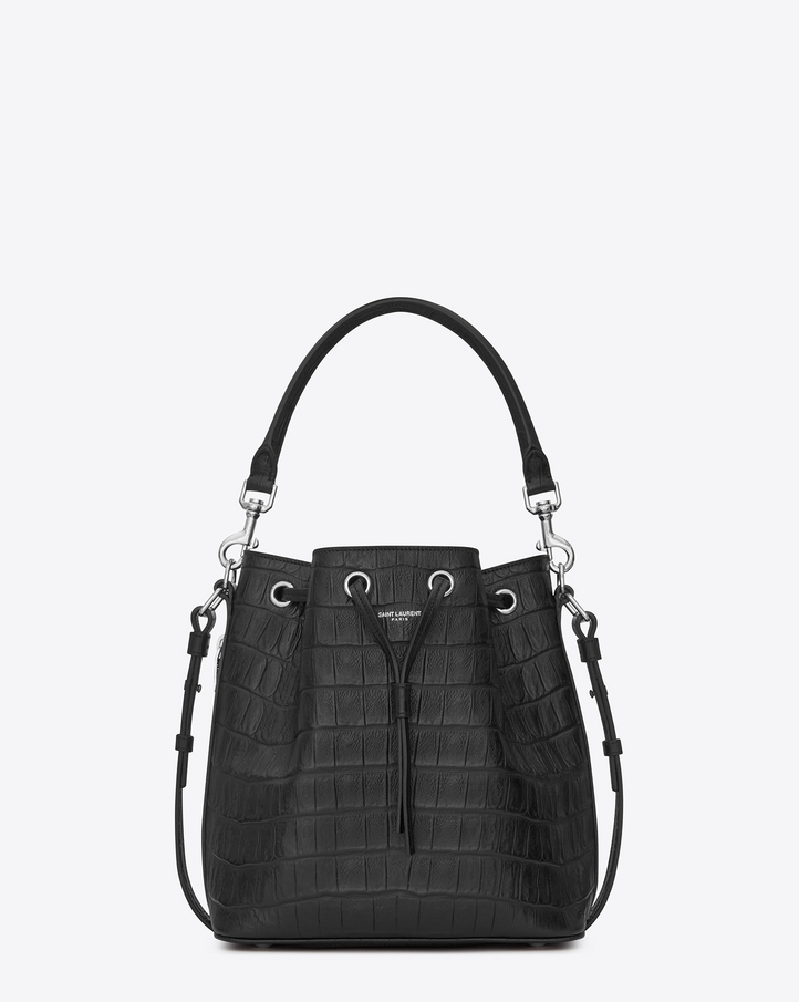 Saint Laurent Medium Emmanuelle SAINT LAURENT BUCKET BAG IN Black ...