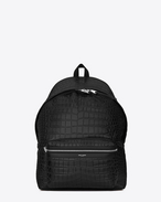 classic city backpack in black crocodile embossed leather