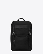 JACQUARD MONOGRAM SAINT LAURENT RUCKSACK IN Black Nylon and Leather