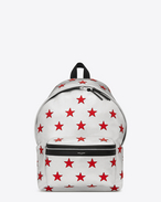 classic city california backpack in metallic silver, red and black leather