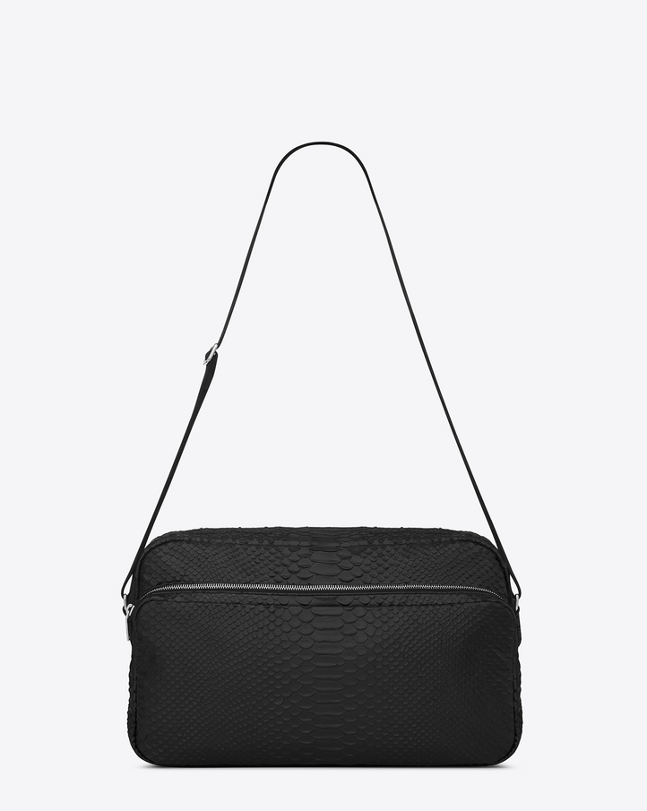 Saint Laurent Classic Small Monogram Saint Laurent Camera Bag In Black Crocodile Embossed Leather