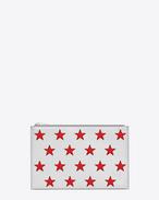 Étui tablette RIDER California zippé mini EN cuir métallisé argenté et cuir rouge