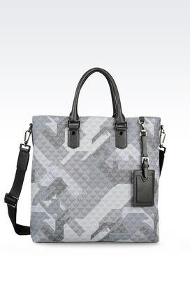 Armani Shoppers Men shopping bag in logo patterned pvc