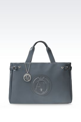 Armani Top handles Women shopping bag in patent faux leather with pendant