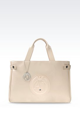 Armani Shoppers Women shopping bag in patent faux leather with pendant