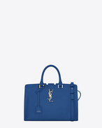 Kleine MONOGRAM SAINT LAURENT CABAS Tasche in royal blauem Leder