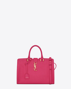 Small MONOGRAM SAINT LAURENT CABAS Bag in Lipstick Fuchsia Leather