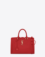 Petit CABAS MONOGRAM SAINT LAURENT en cuir rouge