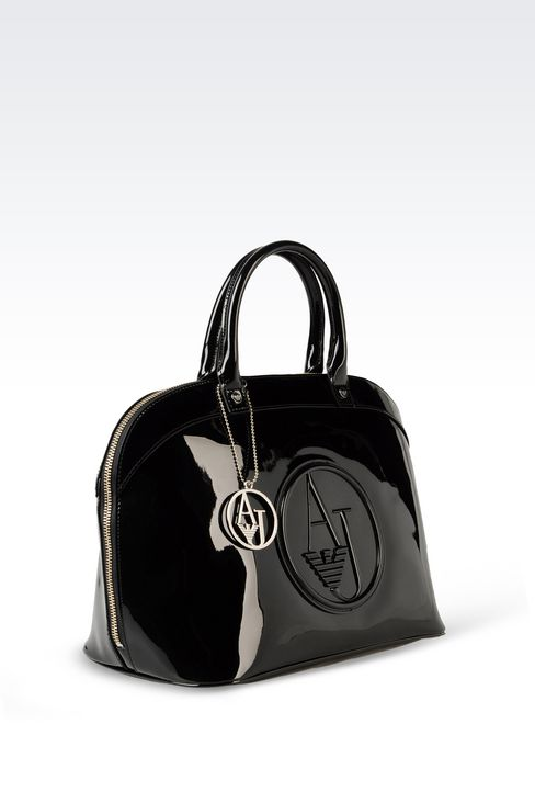 HANDBAG IN PATENT FAUX LEATHER WITH CHARM: Top handles Women by Armani - 3