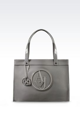 Armani Top handles Women small eco patent leather shopping bag with charms