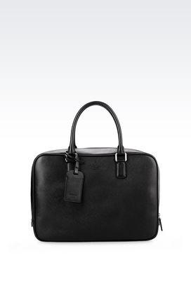 Armani Briefcases Men briefcase in saffiano calfskin