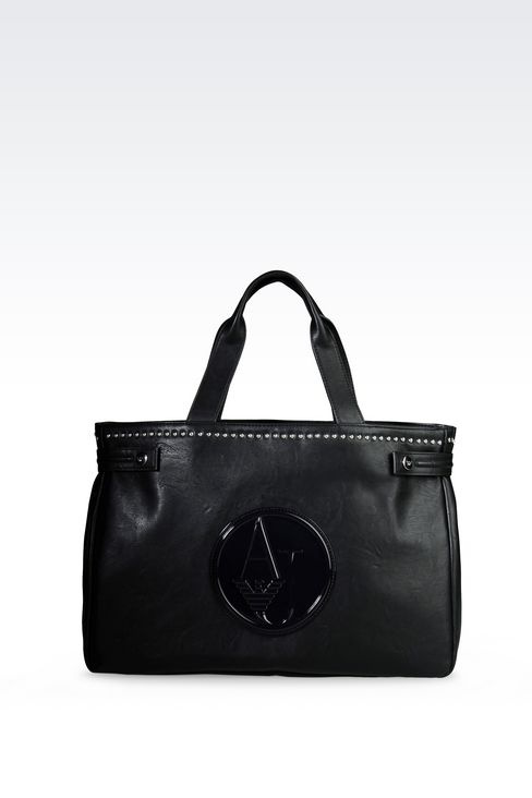SHOPPING BAG IN FAUX LEATHER WITH LOGO: Shoppers Women by Armani - 1