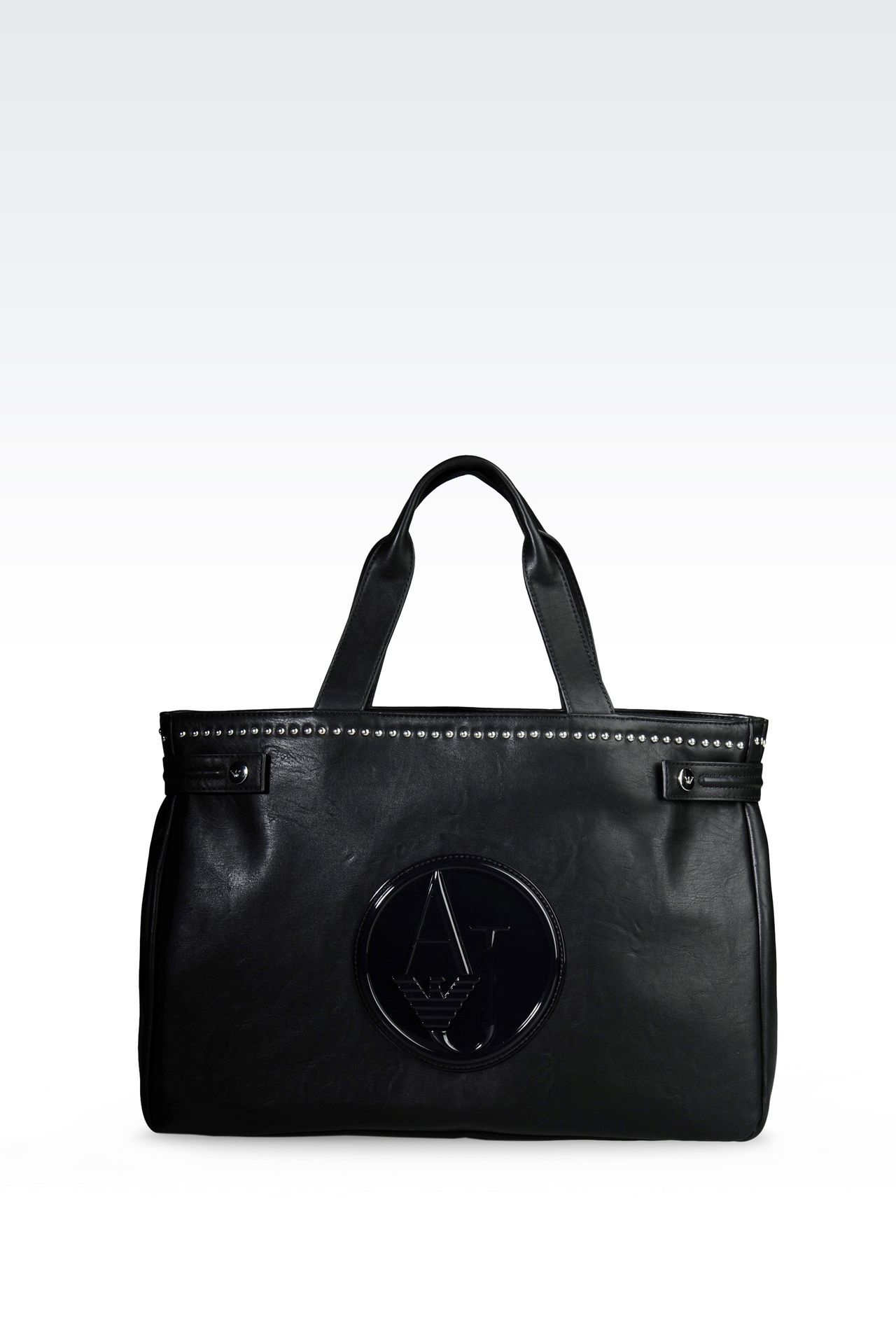 SHOPPING BAG IN FAUX LEATHER WITH LOGO: Shoppers Women by Armani - 0