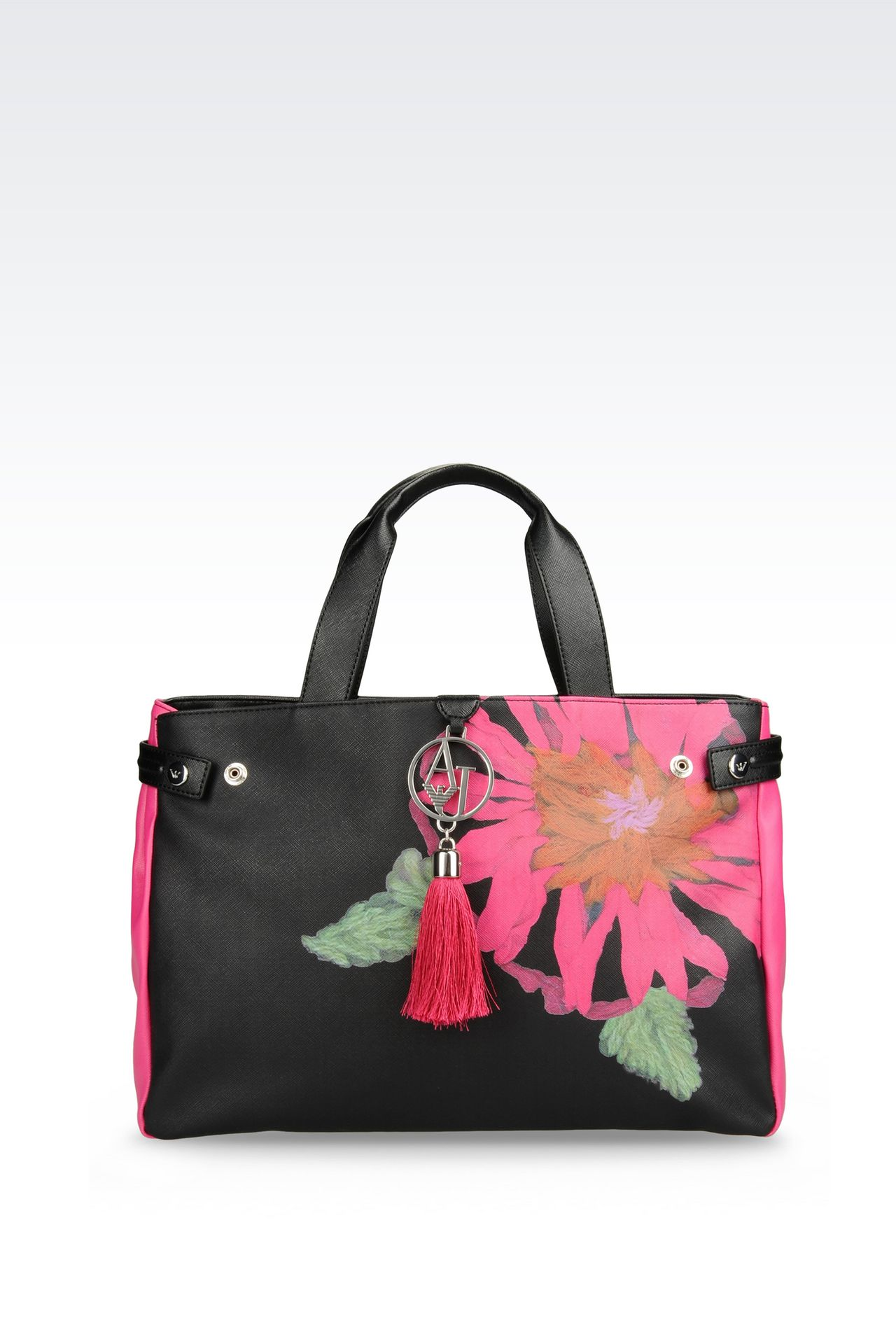 SHOPPING BAG IN FAUX LEATHER WITH TASSELS: Shoppers Women by Armani - 0