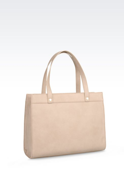 SHOPPING BAG IN FAUX LEATHER WITH CHARM: Shoppers Women by Armani - 3