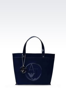 Armani Shoppers Women shopping bag in faux patent leather with detachable shoulder strap