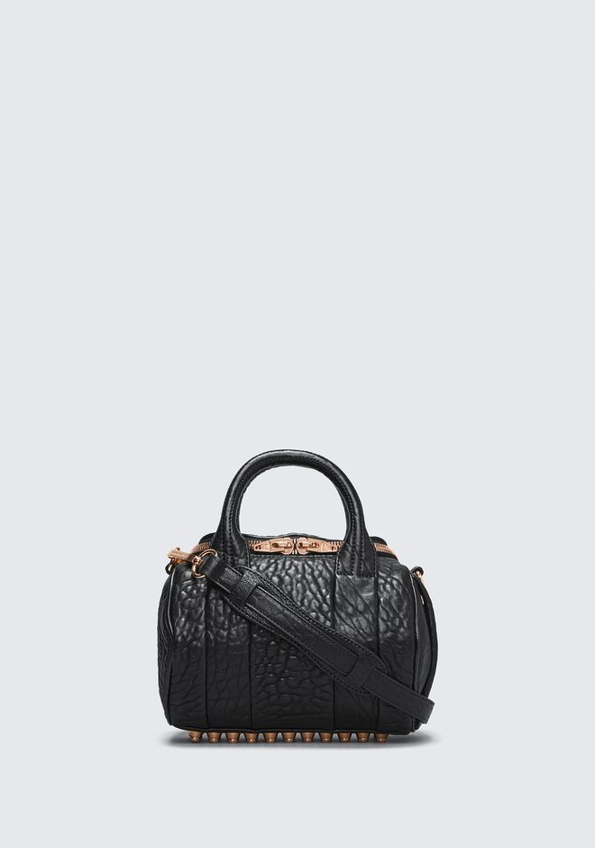 ALEXANDER WANG Shoulder bags Women MINI ROCKIE IN PEBBLED BLACK WITH ROSE GOLD