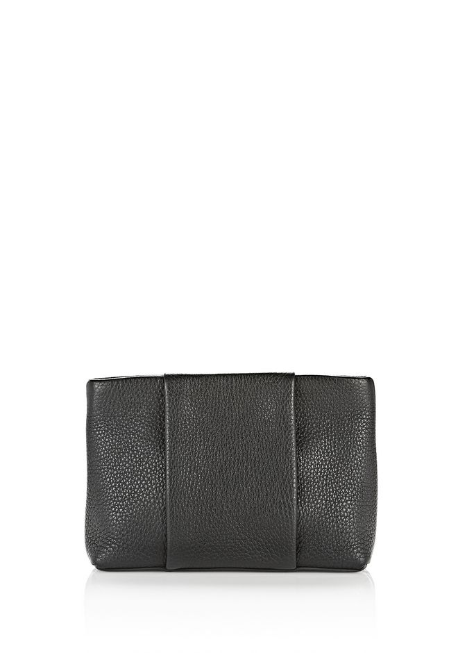 ALEXANDER WANG CLUTCHES Women DUMBO POUCH IN PEBBLED BLACK WITH PALE GOLD