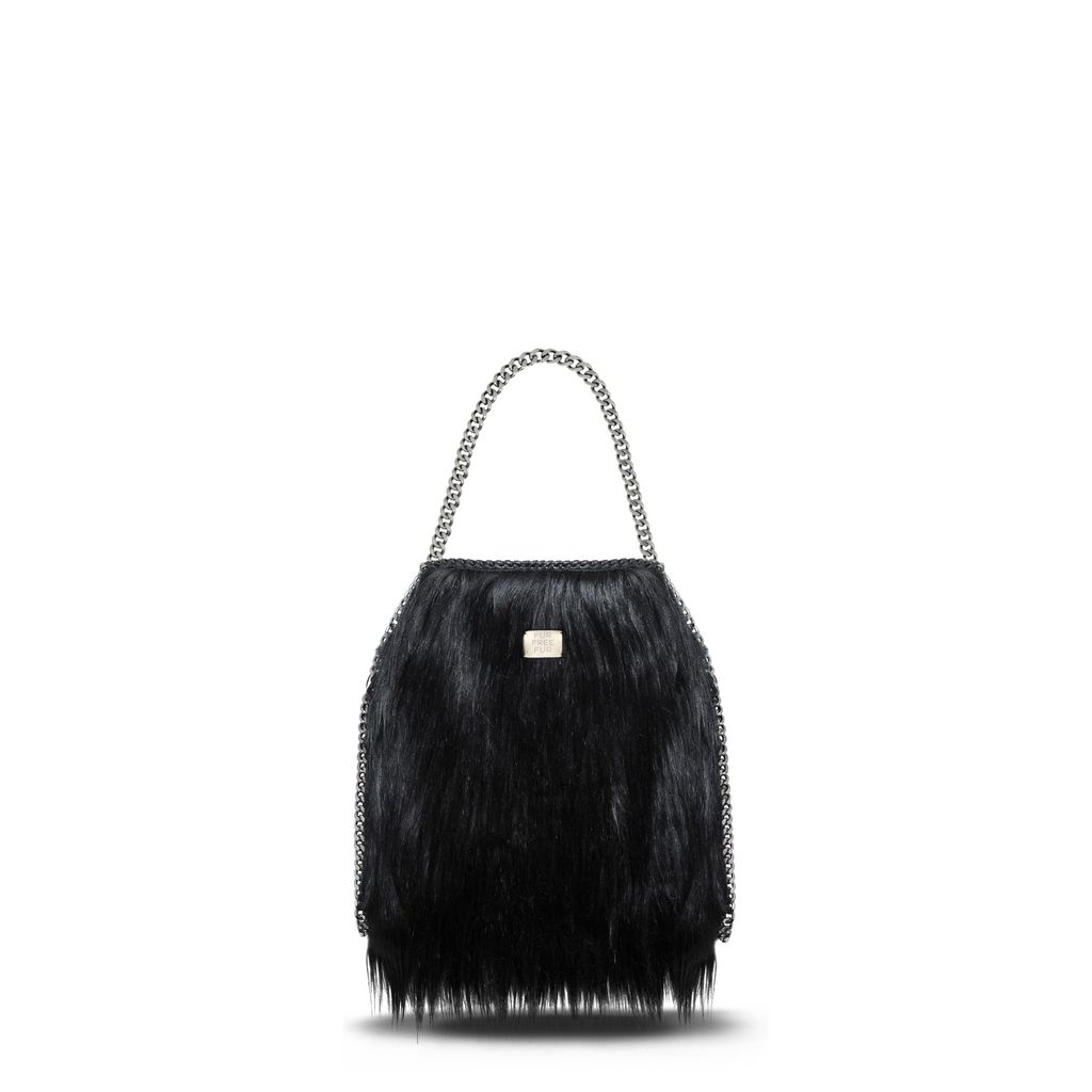 Black Alter Fur Small Tote