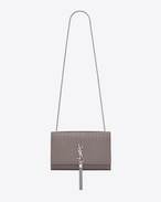 CLASSIC MEDIUM MONOGRAM SAINT LAURENT SATCHEL con nappina color nebbia in coccodrillo stampato