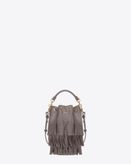 Small EMMANUELLE Fringed Bucket Bag in Fog Leather