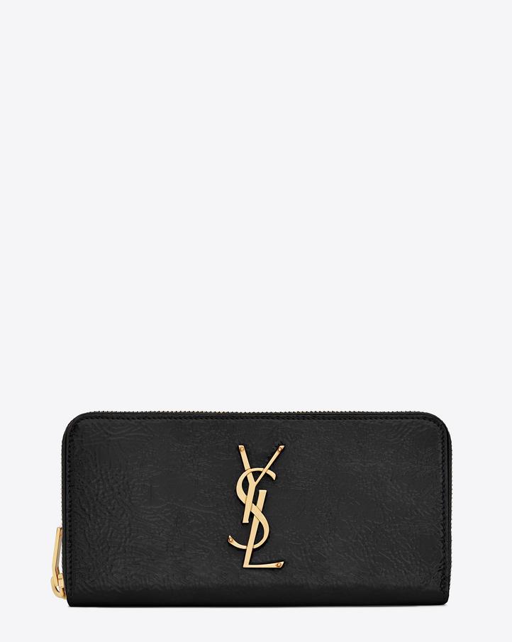 Saint Laurent MONOGRAM SAINT LAURENT Zip Around Wallet In Black ...