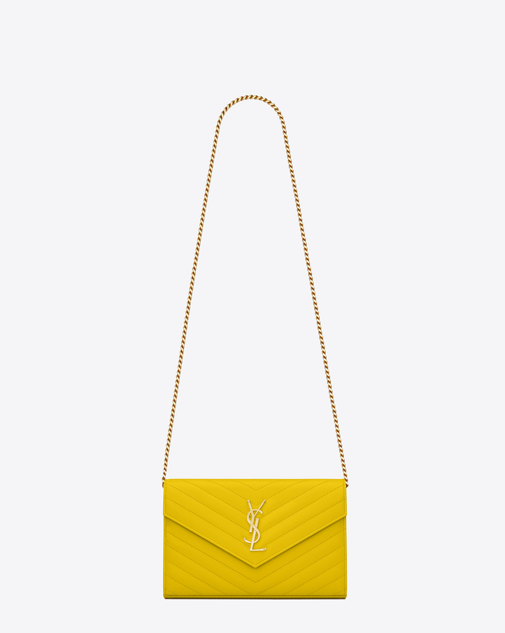 Saint Laurent MONOGRAM SAINT LAURENT Chain Wallet In Yellow Grain ...