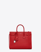 Classic Small SAC DE JOUR BAG in Red Crocodile Embossed Leather